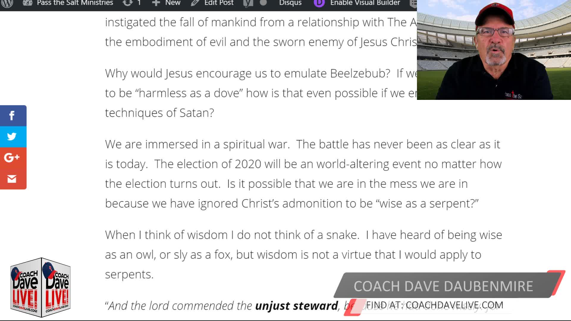 Coach Dave LIVE | 10-16-2020 | OVERCOME THE FLESH THE WORLD AND THE DEVIL